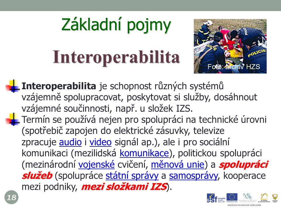 18 Interoperabilita je schopnost různých systémů vzájemně spolupracovat, poskytovat si služby, dosáhnout vzájemné součinnosti, např.