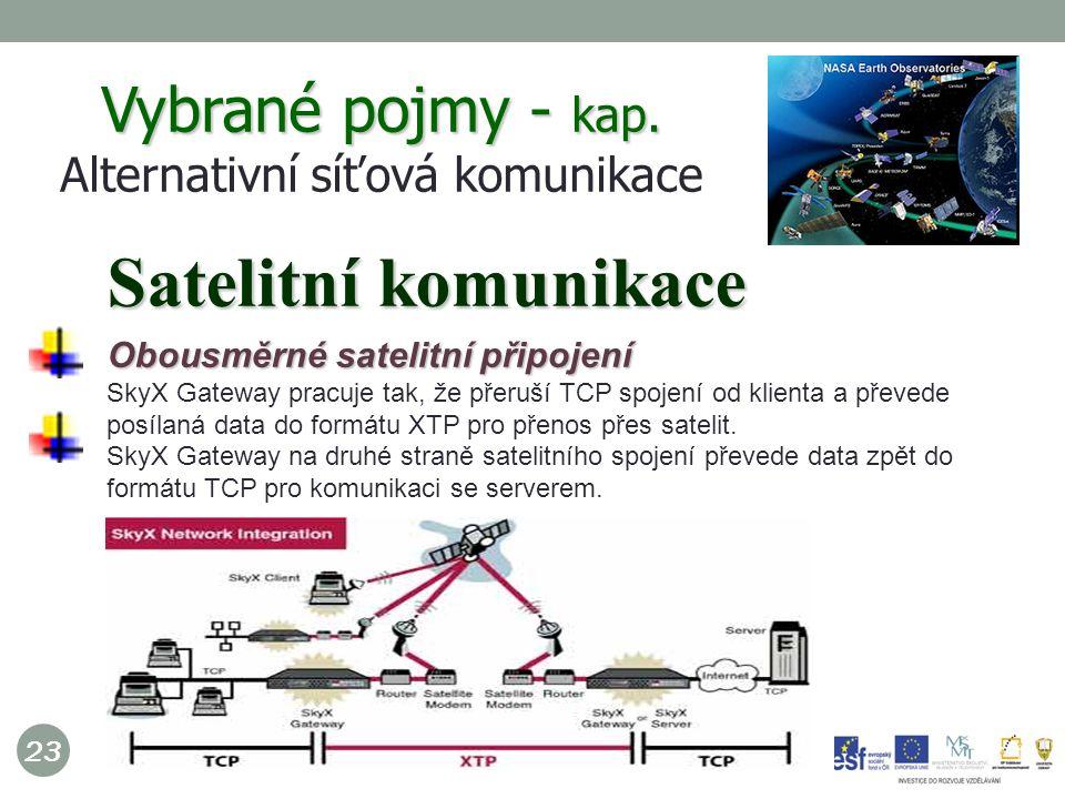 23 Obousměrné satelitní připojení SkyX Gateway pracuje tak, že přeruší TCP spojení od klienta a převede posílaná data do formátu XTP pro přenos přes satelit.