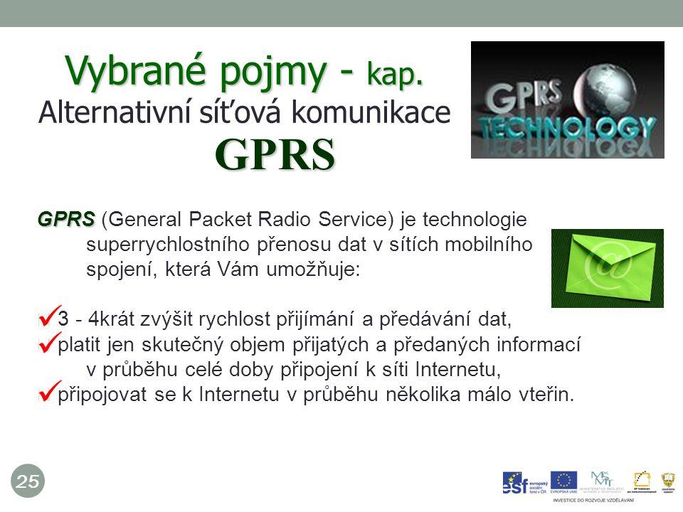 25 GPRS GPRS (General Packet Radio Service) je technologie superrychlostního přenosu dat v sítích mobilního spojení, která Vám umožňuje: 3 - 4krát zvýšit rychlost přijímání a předávání dat, platit jen skutečný objem přijatých a předaných informací v průběhu celé doby připojení k síti Internetu, připojovat se k Internetu v průběhu několika málo vteřin.