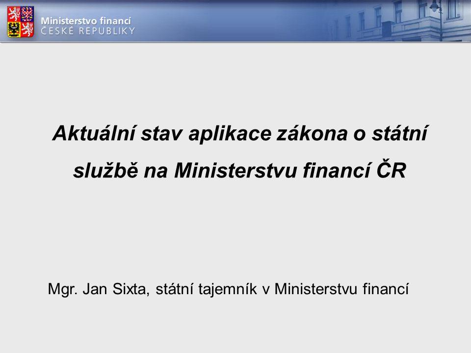 Aktuální stav aplikace zákona o státní službě na Ministerstvu financí ČR Mgr.