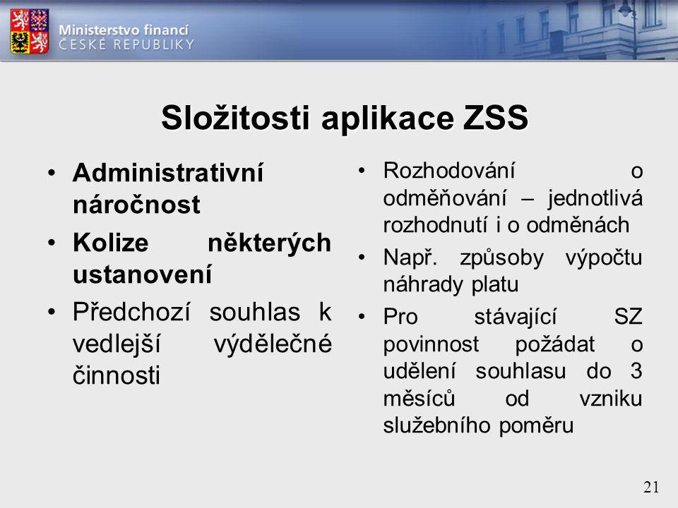 21 Složitosti aplikace ZSS Administrativní náročnost Kolize některých ustanovení Předchozí souhlas k vedlejší výdělečné činnosti Rozhodování o odměňování – jednotlivá rozhodnutí i o odměnách Např.