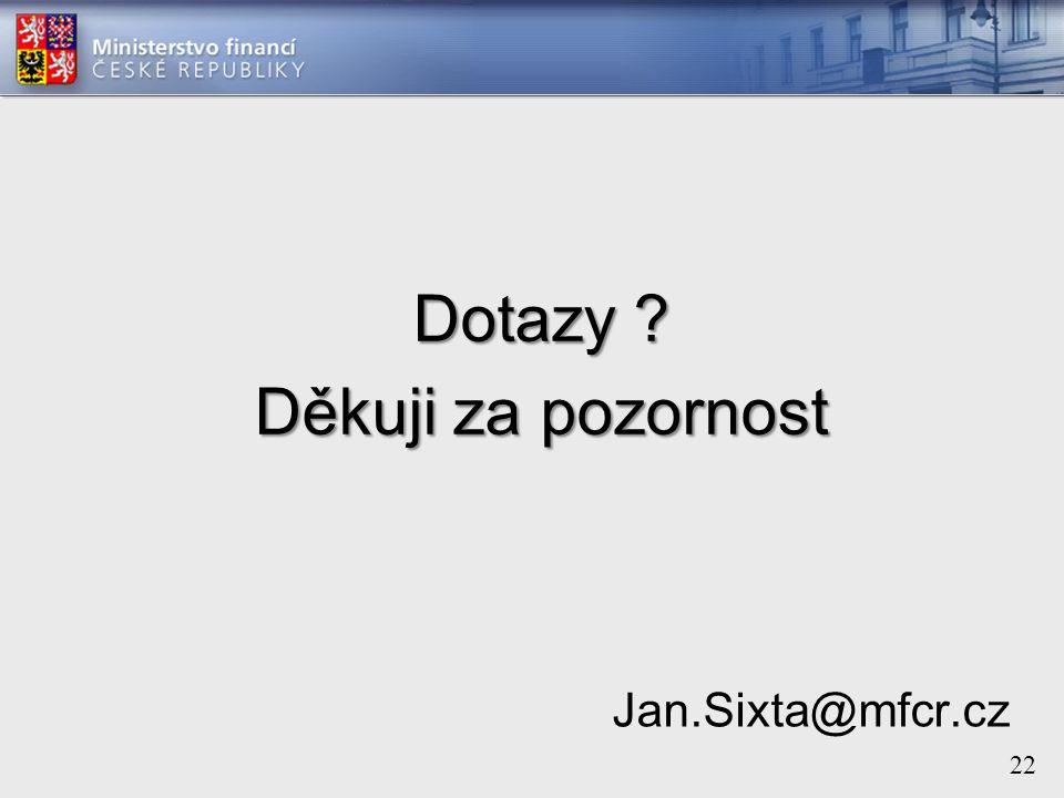 22 Dotazy Děkuji za pozornost Jan.Sixta@mfcr.cz