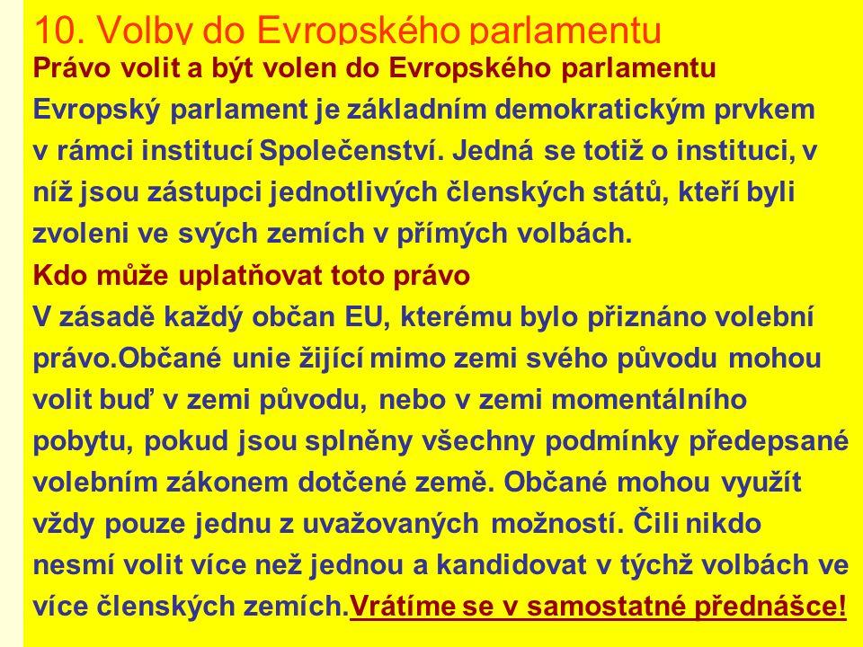 10. Volby do Evropského parlamentu Právo volit a být volen do Evropského parlamentu Evropský parlament je základním demokratickým prvkem v rámci insti