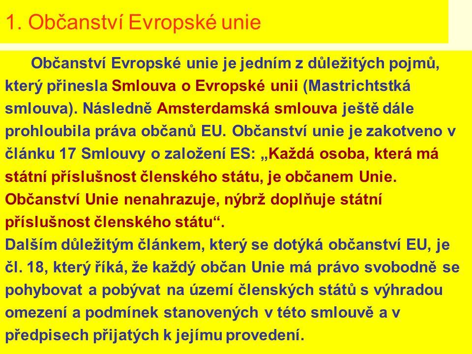 1. Občanství Evropské unie Občanství Evropské unie je jedním z důležitých pojmů, který přinesla Smlouva o Evropské unii (Mastrichtstká smlouva). Násle