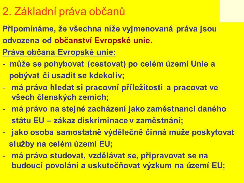 2. Základní práva občanů Připomínáme, že všechna níže vyjmenovaná práva jsou odvozena od občanství Evropské unie. Práva občana Evropské unie: - může s