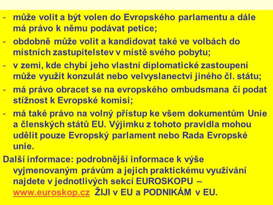 -může volit a být volen do Evropského parlamentu a dále má právo k němu podávat petice; -obdobně může volit a kandidovat také ve volbách do místních zastupitelstev v místě svého pobytu; -v zemi, kde chybí jeho vlastní diplomatické zastoupení může využít konzulát nebo velvyslanectví jiného čl.