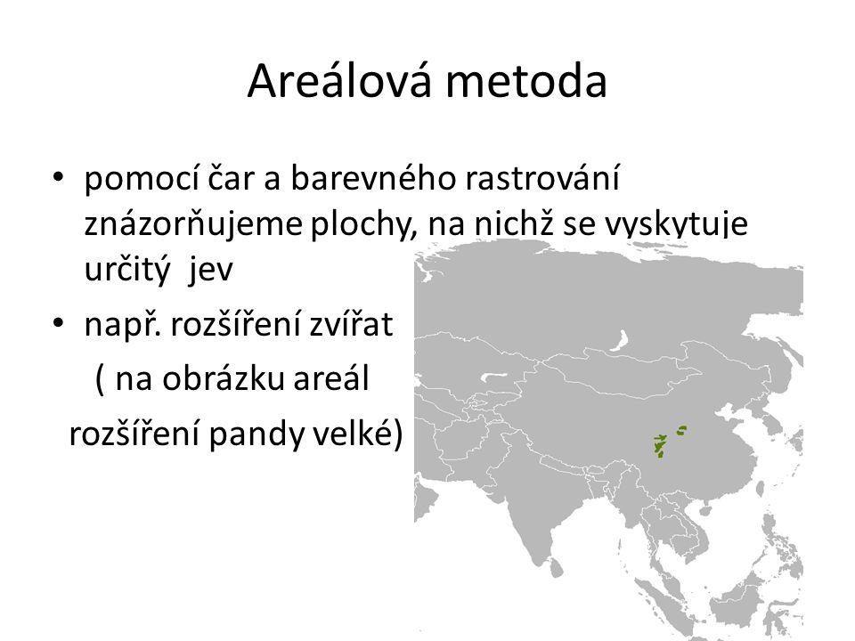 Areálová metoda pomocí čar a barevného rastrování znázorňujeme plochy, na nichž se vyskytuje určitý jev např. rozšíření zvířat ( na obrázku areál rozš