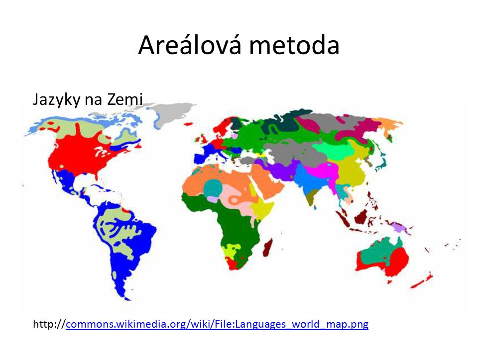 Areálová metoda http://commons.wikimedia.org/wiki/File:Languages_world_map.pngcommons.wikimedia.org/wiki/File:Languages_world_map.png Jazyky na Zemi