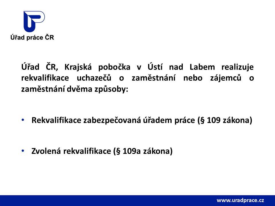 Úřad ČR, Krajská pobočka v Ústí nad Labem realizuje rekvalifikace uchazečů o zaměstnání nebo zájemců o zaměstnání dvěma způsoby: Rekvalifikace zabezpečovaná úřadem práce (§ 109 zákona) Zvolená rekvalifikace (§ 109a zákona)