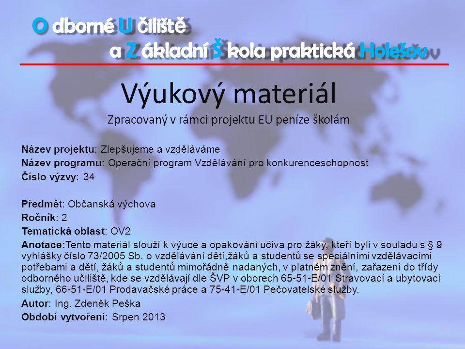 Výukový materiál Zpracovaný v rámci projektu EU peníze školám Název projektu: Zlepšujeme a vzděláváme Název programu: Operační program Vzdělávání pro konkurenceschopnost Číslo výzvy: 34 Předmět: Občanská výchova Ročník: 2 Tematická oblast: OV2 Anotace:Tento materiál slouží k výuce a opakování učiva pro žáky, kteří byli v souladu s § 9 vyhlášky číslo 73/2005 Sb.