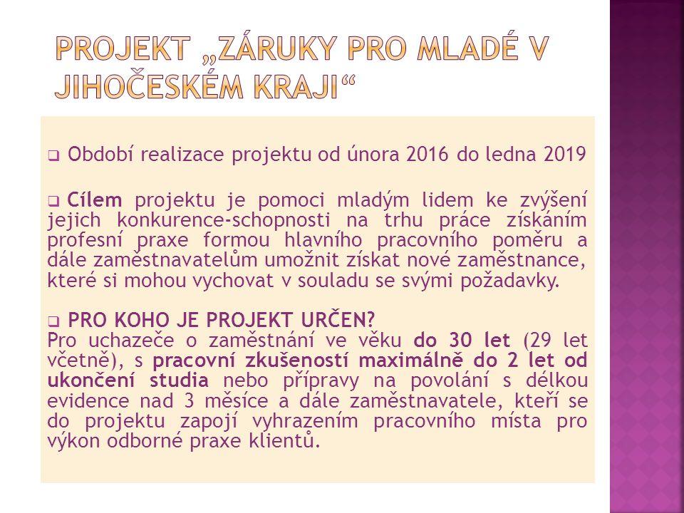  Období realizace projektu od února 2016 do ledna 2019  Cílem projektu je pomoci mladým lidem ke zvýšení jejich konkurence-schopnosti na trhu práce