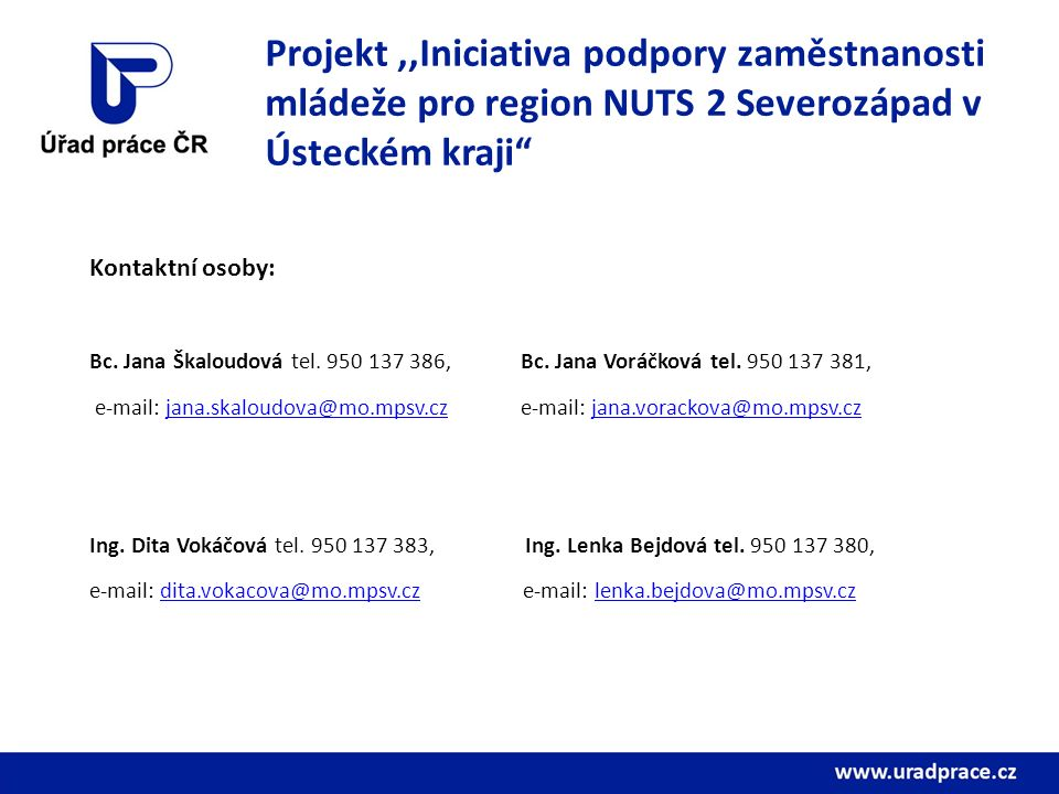 Projekt,,Iniciativa podpory zaměstnanosti mládeže pro region NUTS 2 Severozápad v Ústeckém kraji Kontaktní osoby: Bc.
