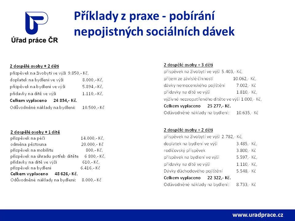Příklady z praxe - pobírání nepojistných sociálních dávek
