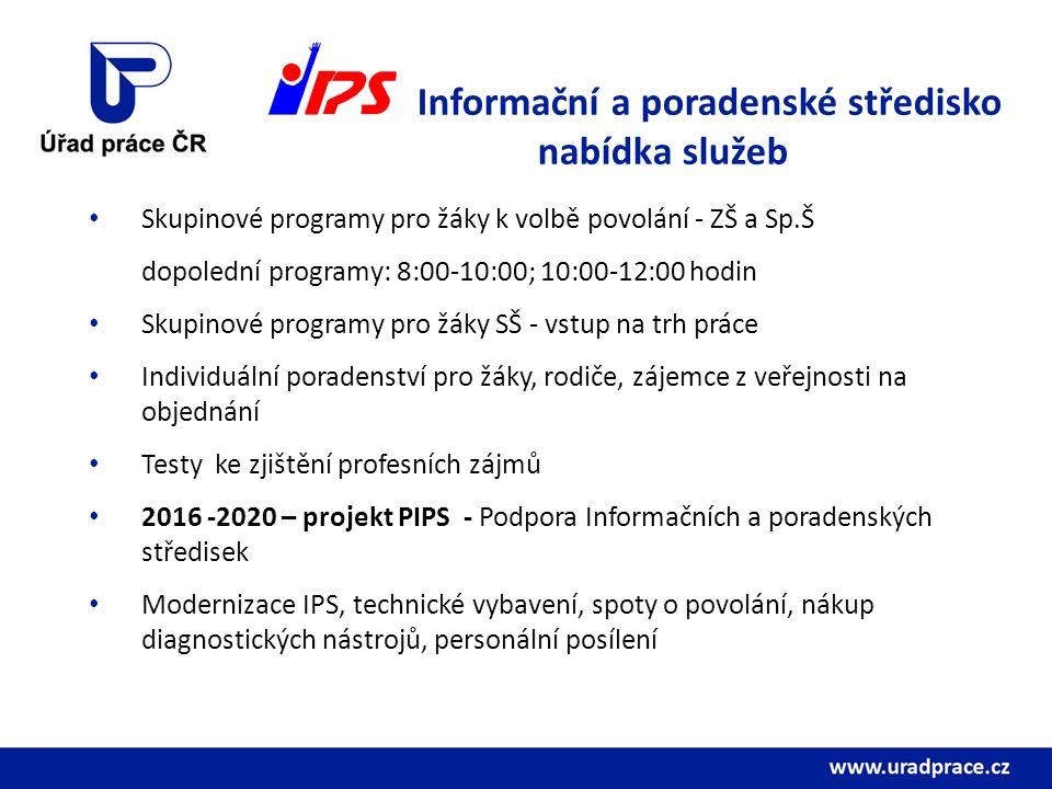 I Informační a poradenské středisko nabídka služeb Skupinové programy pro žáky k volbě povolání - ZŠ a Sp.Š dopolední programy: 8:00-10:00; 10:00-12:00 hodin Skupinové programy pro žáky SŠ - vstup na trh práce Individuální poradenství pro žáky, rodiče, zájemce z veřejnosti na objednání Testy ke zjištění profesních zájmů 2016 -2020 – projekt PIPS - Podpora Informačních a poradenských středisek Modernizace IPS, technické vybavení, spoty o povolání, nákup diagnostických nástrojů, personální posílení