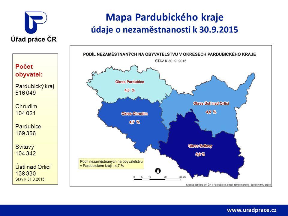 Mapa Pardubického kraje údaje o nezaměstnanosti k 30.9.2015 Počet obyvatel: Pardubický kraj 516 049 Chrudim 104 021 Pardubice 169 356 Svitavy 104 342 Ústí nad Orlicí 138 330 Stav k 31.3.2015