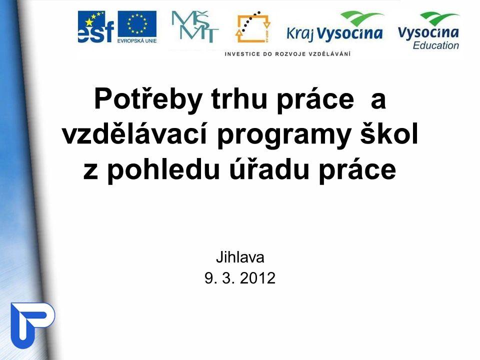 Potřeby trhu práce a vzdělávací programy škol z pohledu úřadu práce Jihlava 9. 3. 2012