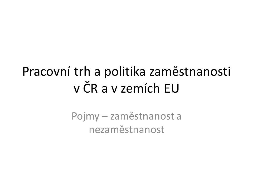 Pracovní trh a politika zaměstnanosti v ČR a v zemích EU Pojmy – zaměstnanost a nezaměstnanost