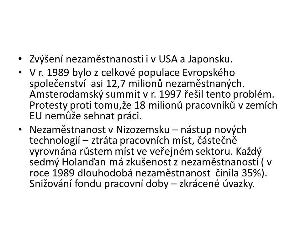 Zvýšení nezaměstnanosti i v USA a Japonsku. V r.