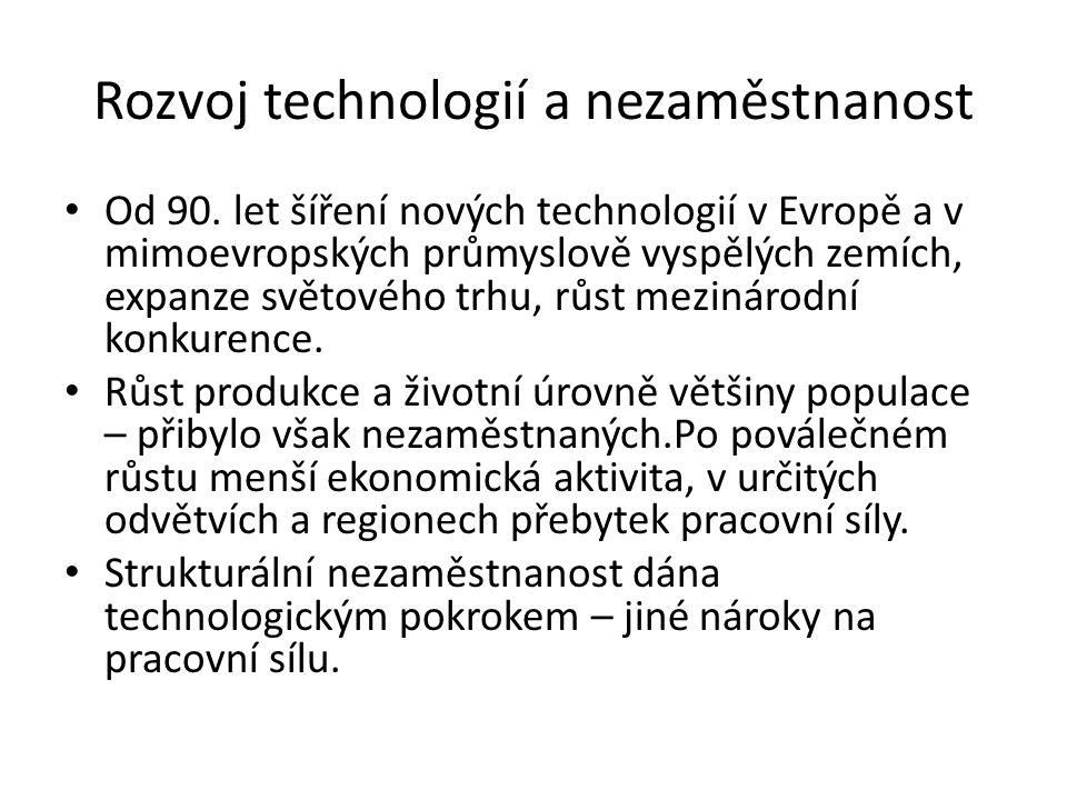 Rozvoj technologií a nezaměstnanost Od 90.