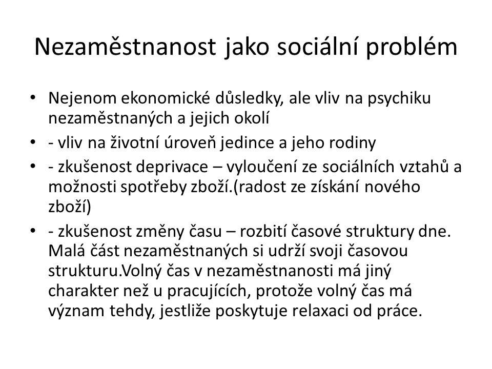 Nezaměstnanost jako sociální problém Nejenom ekonomické důsledky, ale vliv na psychiku nezaměstnaných a jejich okolí - vliv na životní úroveň jedince a jeho rodiny - zkušenost deprivace – vyloučení ze sociálních vztahů a možnosti spotřeby zboží.(radost ze získání nového zboží) - zkušenost změny času – rozbití časové struktury dne.