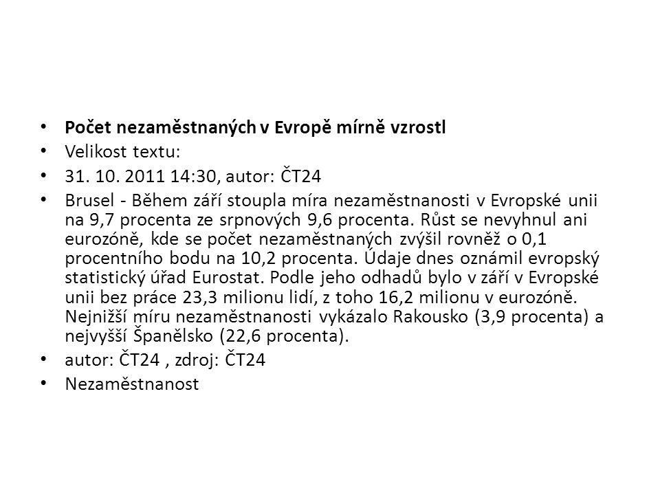 Počet nezaměstnaných v Evropě mírně vzrostl Velikost textu: 31.