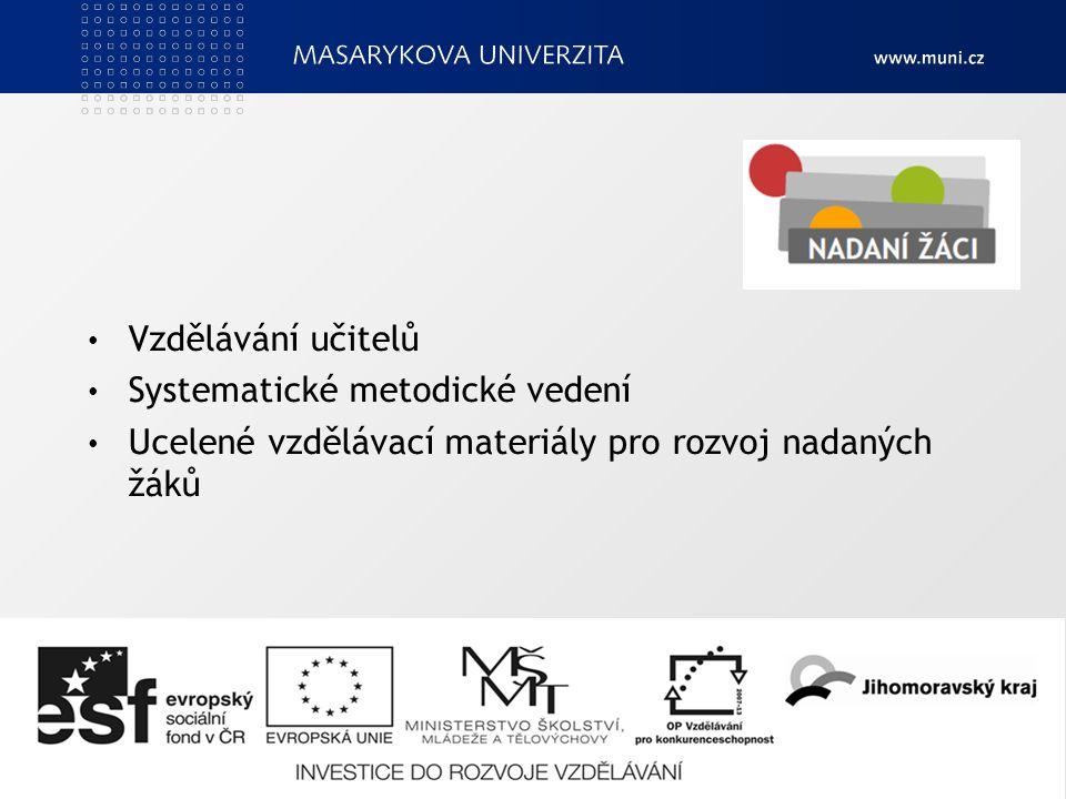 Vzdělávání učitelů Systematické metodické vedení Ucelené vzdělávací materiály pro rozvoj nadaných žáků