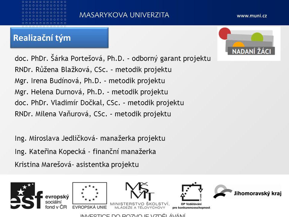 Realizační tým doc. PhDr. Šárka Portešová, Ph.D.