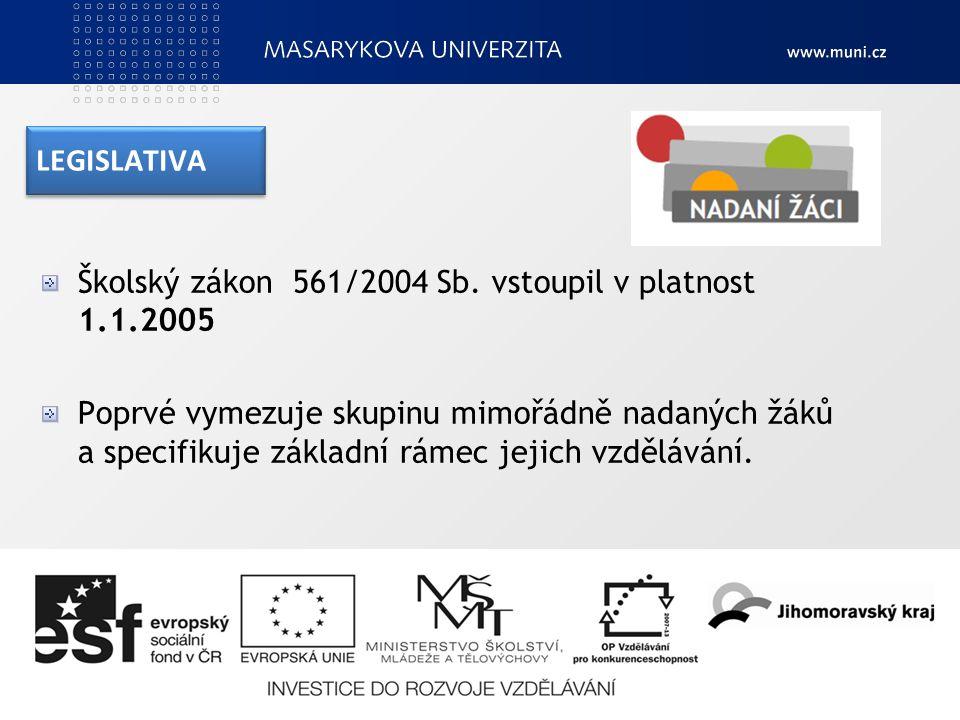 LEGISLATIVA Školský zákon 561/2004 Sb.