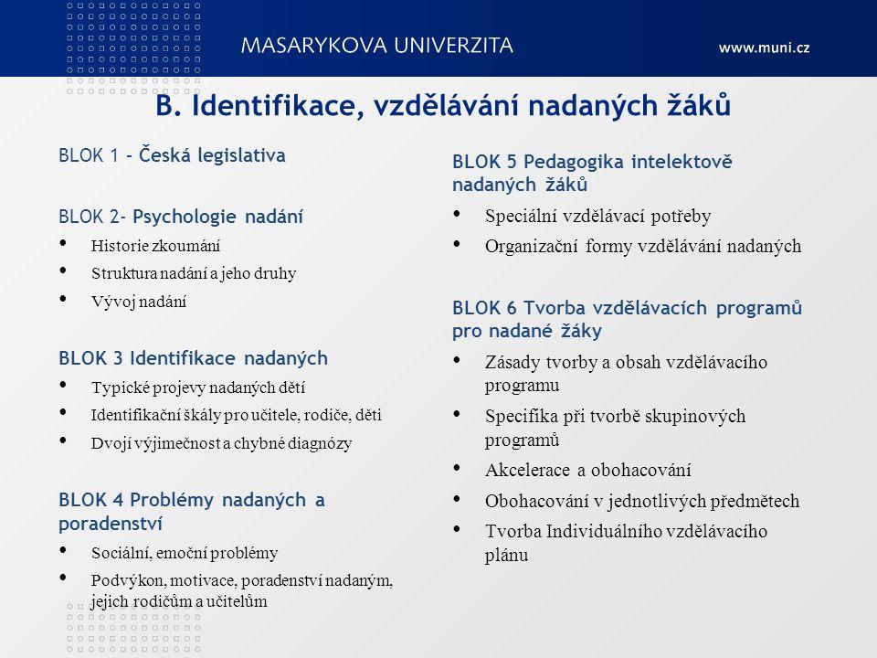 B. Identifikace, vzdělávání nadaných žáků BLOK 1 – Česká legislativa BLOK 2- Psychologie nadání Historie zkoumání Struktura nadání a jeho druhy Vývoj