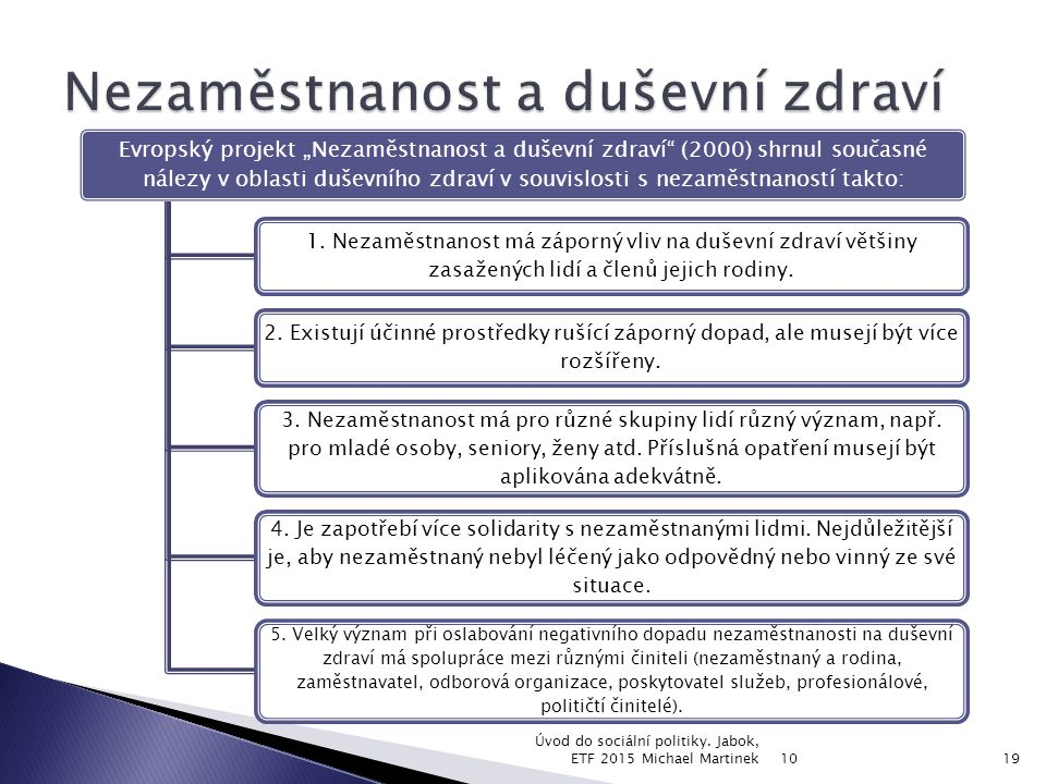 """Evropský projekt """"Nezaměstnanost a duševní zdraví (2000) shrnul současné nálezy v oblasti duševního zdraví v souvislosti s nezaměstnaností takto: 1."""
