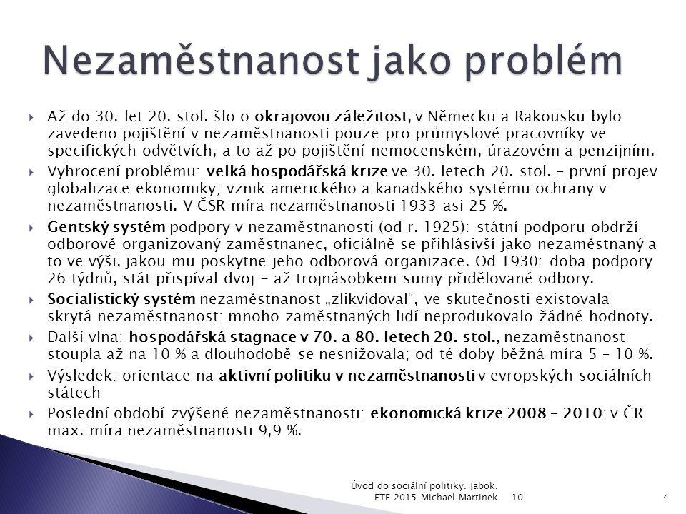 10 Úvod do sociální politiky. Jabok, ETF 2015 Michael Martinek15