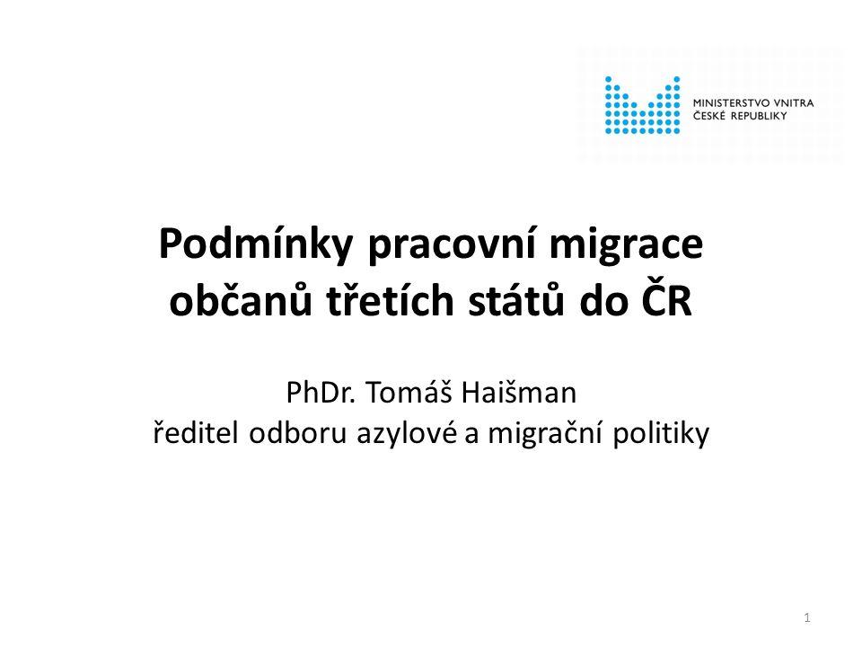 Podmínky pracovní migrace občanů třetích států do ČR PhDr.