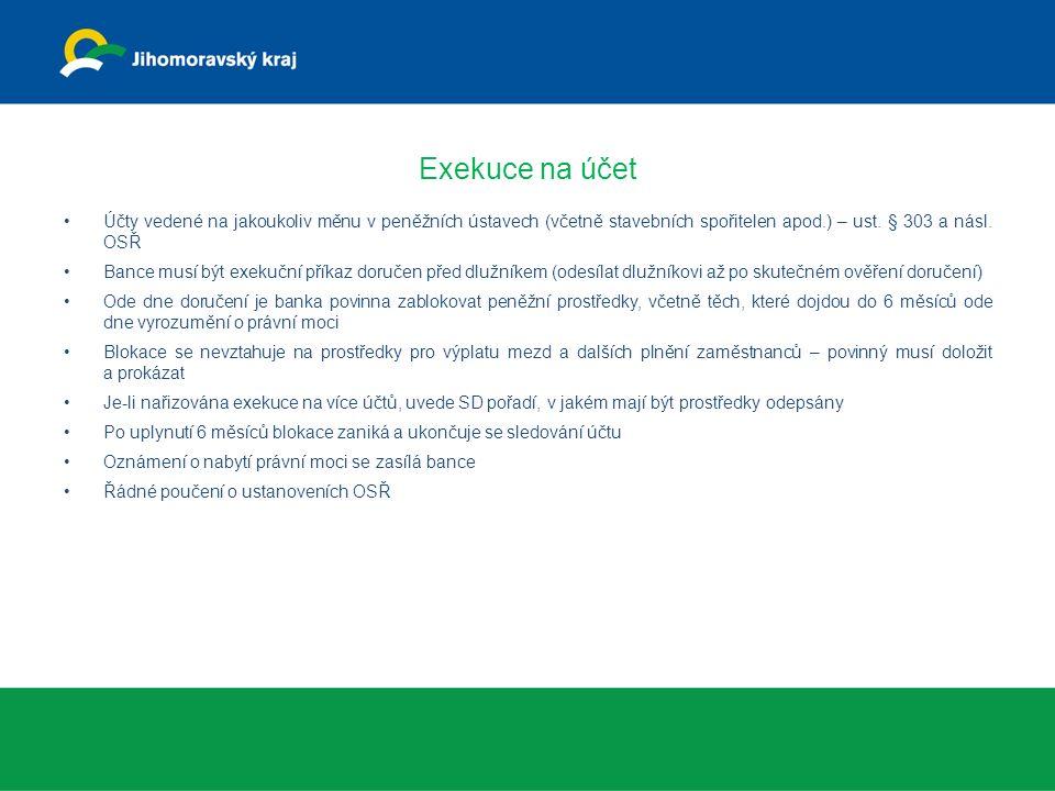 Exekuce na účet Účty vedené na jakoukoliv měnu v peněžních ústavech (včetně stavebních spořitelen apod.) – ust.