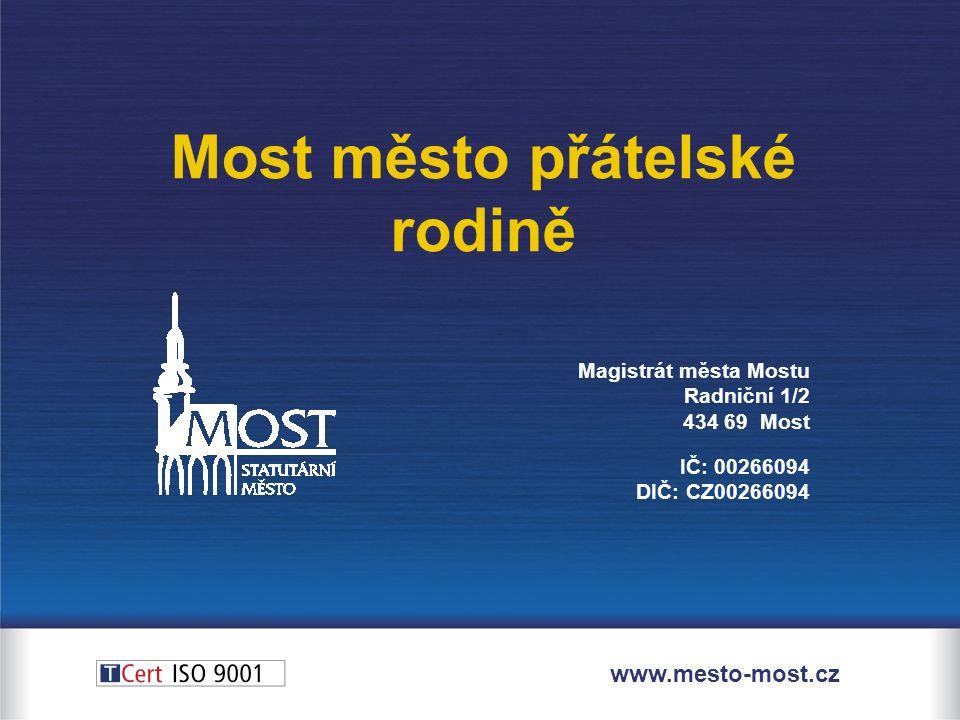 Magistrát města Mostu Radniční 1/2 434 69 Most IČ: 00266094 DIČ: CZ00266094 Most město přátelské rodině www.mesto-most.cz