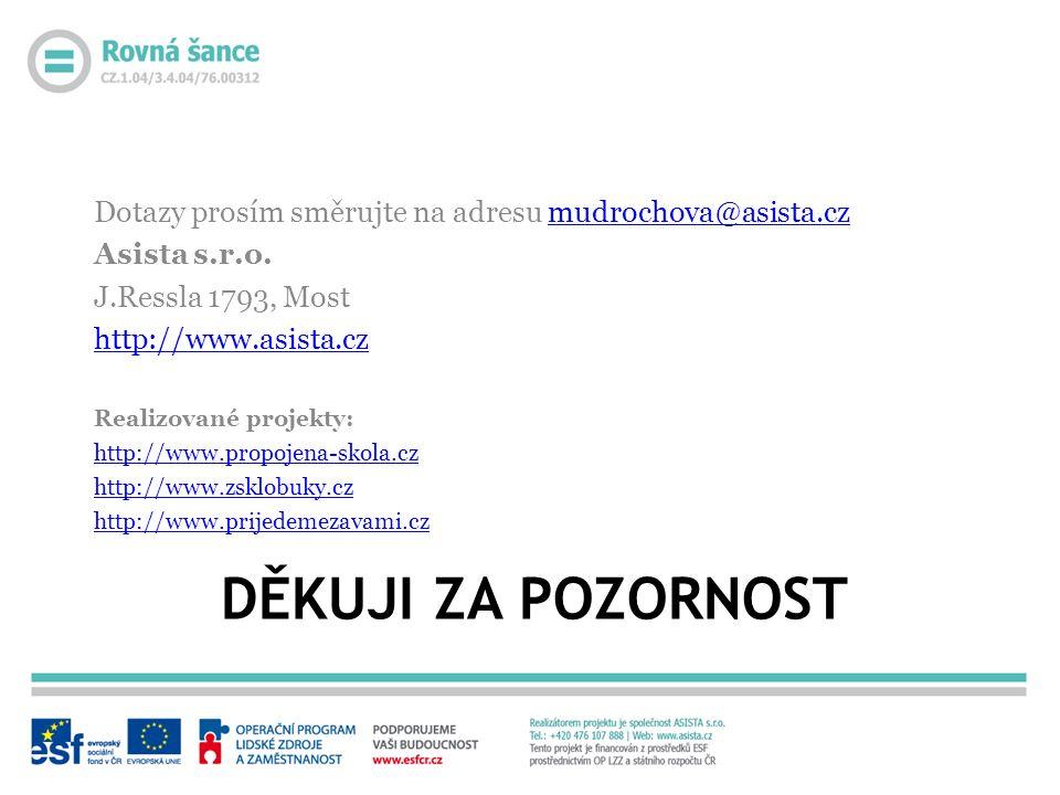DĚKUJI ZA POZORNOST Dotazy prosím směrujte na adresu mudrochova@asista.czmudrochova@asista.cz Asista s.r.o. J.Ressla 1793, Most http://www.asista.cz R
