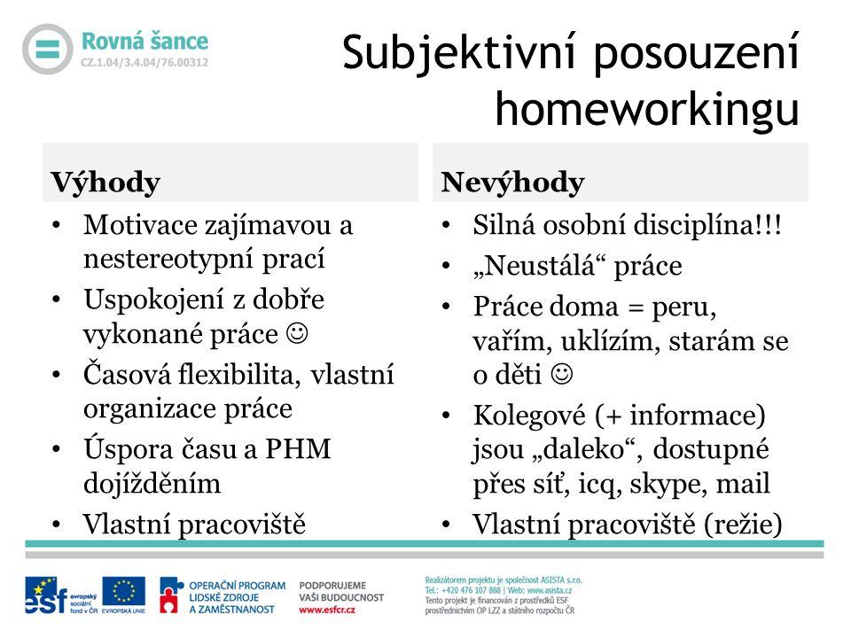 Subjektivní posouzení homeworkingu Výhody Motivace zajímavou a nestereotypní prací Uspokojení z dobře vykonané práce Časová flexibilita, vlastní organ
