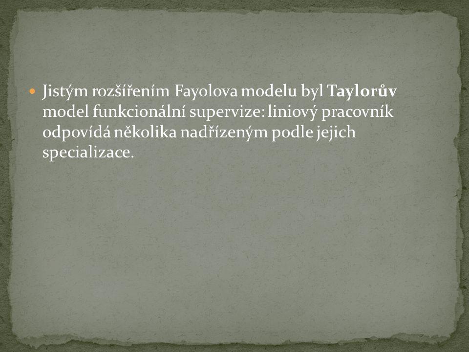 Jistým rozšířením Fayolova modelu byl Taylorův model funkcionální supervize: liniový pracovník odpovídá několika nadřízeným podle jejich specializace.
