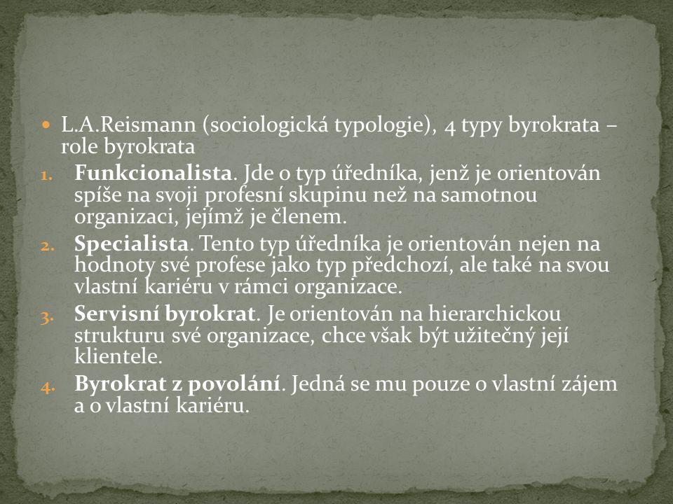L.A.Reismann (sociologická typologie), 4 typy byrokrata – role byrokrata 1.