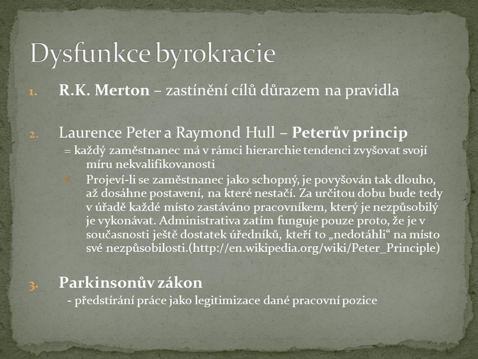 1. R.K. Merton – zastínění cílů důrazem na pravidla 2.