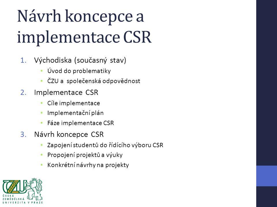 Návrh koncepce a implementace CSR 1.Východiska (současný stav) Úvod do problematiky ČZU a společenská odpovědnost 2.Implementace CSR Cíle implementace Implementační plán Fáze implementace CSR 3.Návrh koncepce CSR Zapojení studentů do řídícího výboru CSR Propojení projektů a výuky Konkrétní návrhy na projekty