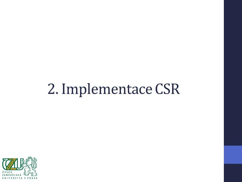 Cíle implementace Cíl: Zavedení CSR na České zemědělské univerzitě Dílčí cíle (výstupy): Vytvoření CSR organizační jednotky Stanovení strategie CSR Stanovení koncepce CSR Vytvoření portfolia projektů Realizace konkrétních projektů Kontrola očekávaných přínosů