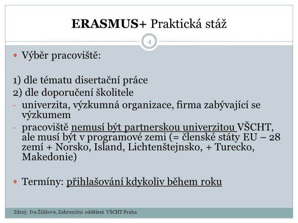ERASMUS+ Praktická stáž 4 Výběr pracoviště: 1) dle tématu disertační práce 2) dle doporučení školitele - univerzita, výzkumná organizace, firma zabývající se výzkumem - pracoviště nemusí být partnerskou univerzitou VŠCHT, ale musí být v programové zemi (= členské státy EU – 28 zemí + Norsko, Island, Lichtenštejnsko, + Turecko, Makedonie) Termíny: přihlašování kdykoliv během roku Zdroj: Iva Žilíková, Zahraniční oddělení VŠCHT Praha