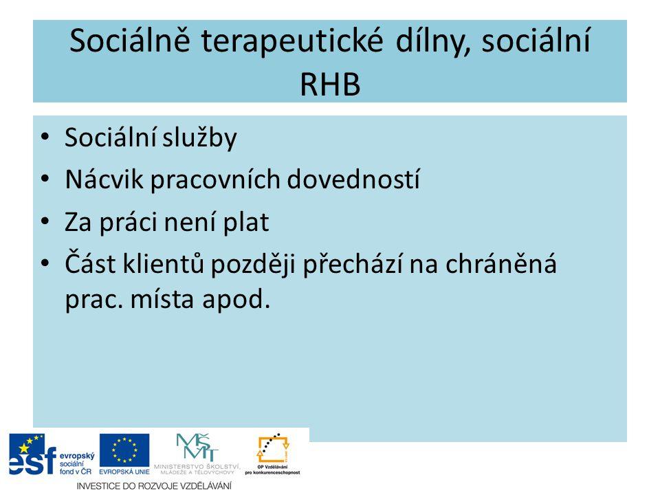 Sociálně terapeutické dílny, sociální RHB Sociální služby Nácvik pracovních dovedností Za práci není plat Část klientů později přechází na chráněná pr