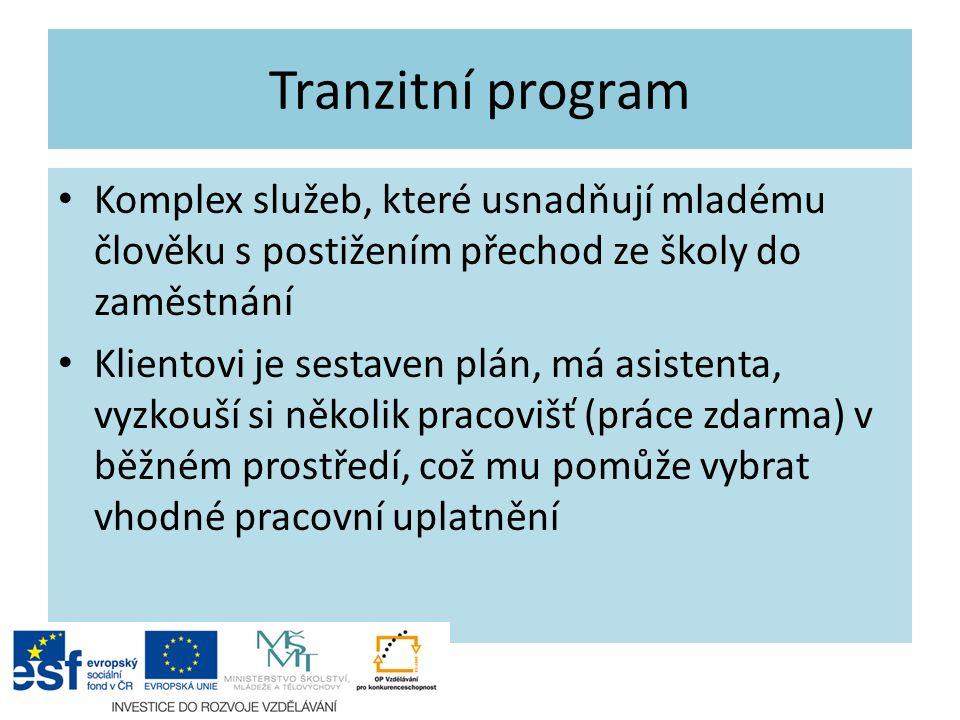 Tranzitní program Komplex služeb, které usnadňují mladému člověku s postižením přechod ze školy do zaměstnání Klientovi je sestaven plán, má asistenta