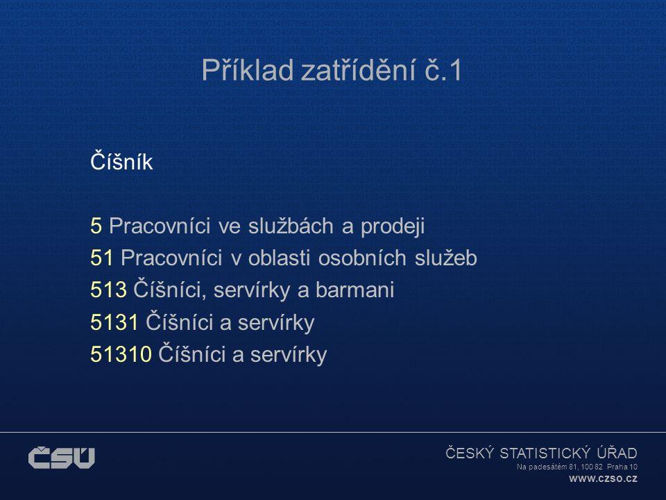 ČESKÝ STATISTICKÝ ÚŘAD Na padesátém 81, 100 82 Praha 10 www.czso.cz Příklad zatřídění č.