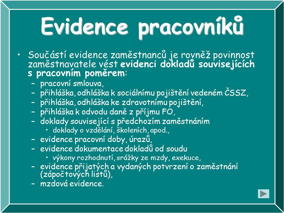 Evidence pracovníků Součástí evidence zaměstnanců je rovněž povinnost zaměstnavatele vést evidenci dokladů souvisejících s pracovním poměrem: –pracovn