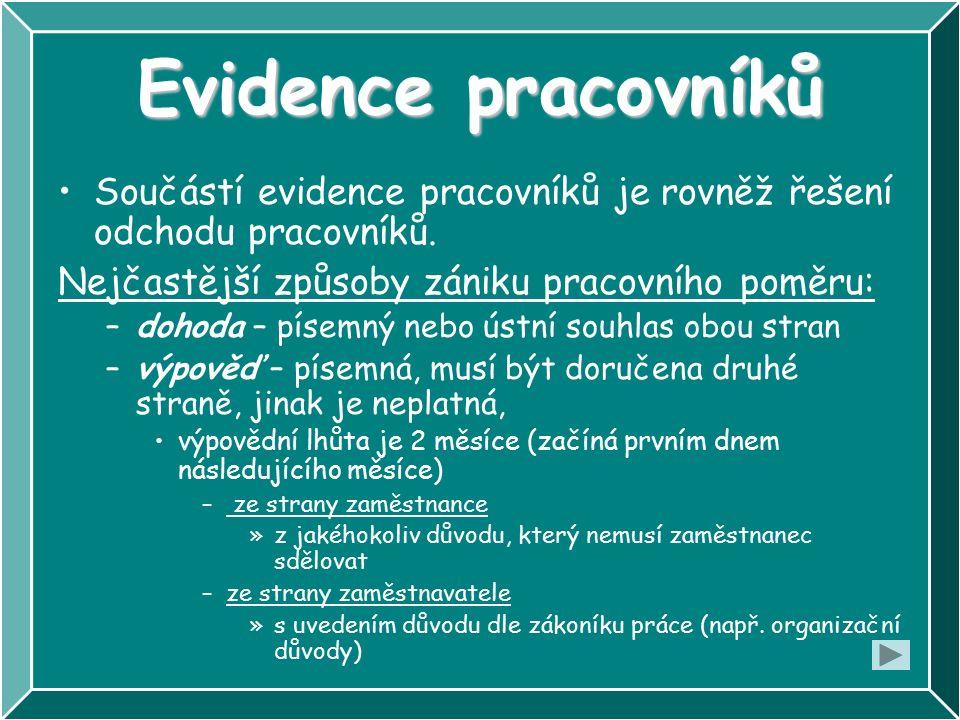 Evidence pracovníků Součástí evidence pracovníků je rovněž řešení odchodu pracovníků.