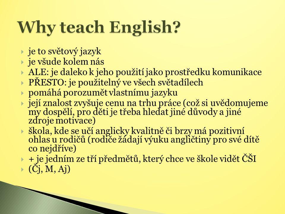  je to světový jazyk  je všude kolem nás  ALE: je daleko k jeho použití jako prostředku komunikace  PŘESTO: je použitelný ve všech světadílech  pomáhá porozumět vlastnímu jazyku  její znalost zvyšuje cenu na trhu práce (což si uvědomujeme my dospělí, pro děti je třeba hledat jiné důvody a jiné zdroje motivace)  škola, kde se učí anglicky kvalitně či brzy má pozitivní ohlas u rodičů (rodiče žádají výuku angličtiny pro své dítě co nejdříve)  + je jedním ze tří předmětů, který chce ve škole vidět ČŠI  (Čj, M, Aj)