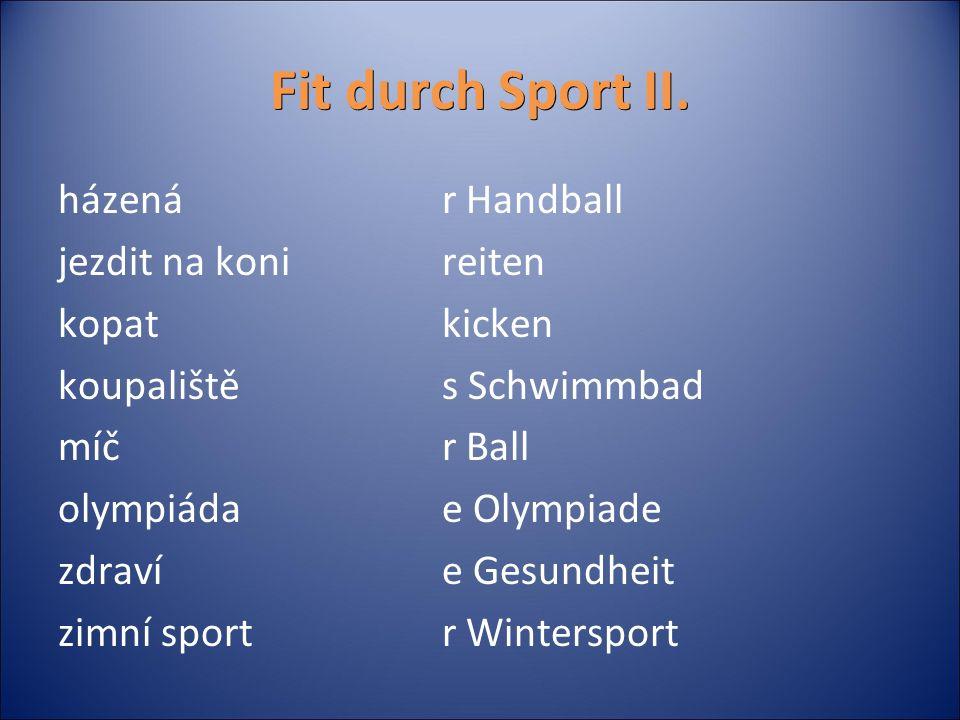 Fit durch Sport II.Přiřaď ke slovíčkům jejich správný český překlad.