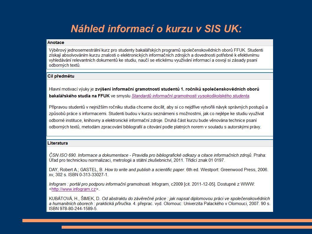 Náhled informací o kurzu v SIS UK: